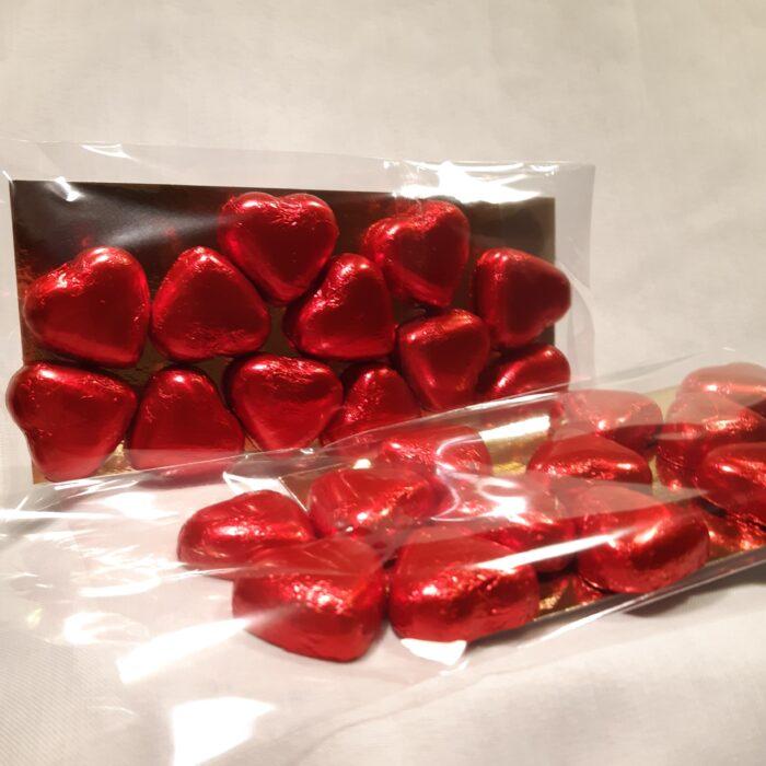 Röda chokladhjärtan